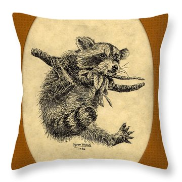 Throw Pillow featuring the drawing Out On A Limb by Karen Musick