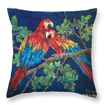 Out On A Limb- Macaws Parrots - Bordered Throw Pillow by Sue Duda