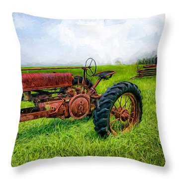 Throw Pillow featuring the painting Out To Pasture II by Dan Carmichael