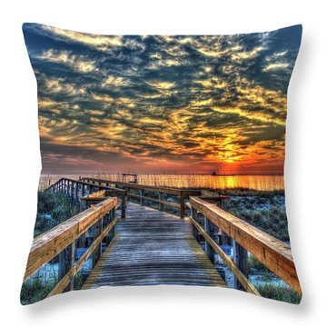 Throw Pillow featuring the photograph Out To Sea Tybee Island Georgia Art by Reid Callaway