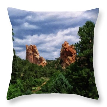 Throw Pillow featuring the digital art outcroppings in Colorado Springs by Chris Flees