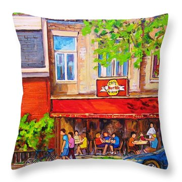 Outdoor Cafe Throw Pillow by Carole Spandau