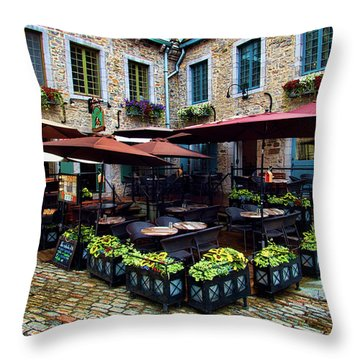 Outdoor French Cafe In Old Quebec City Throw Pillow