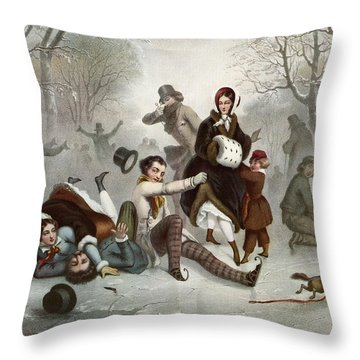 Outdoor Ice Skating In The 19th Throw Pillow