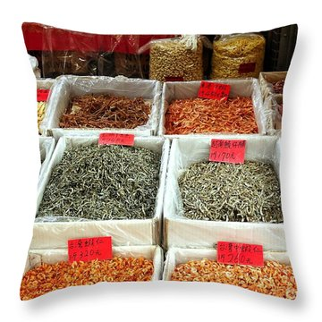 Outdoor Market For Dried Seafood Throw Pillow