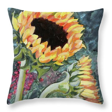 Outdoor Sunflowers Throw Pillow