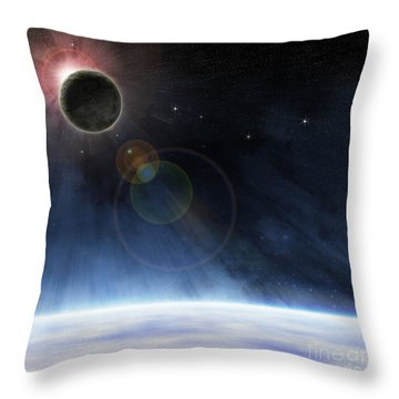 Throw Pillow featuring the digital art Outer Atmosphere Of Planet Earth by Phil Perkins