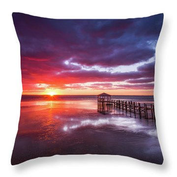 Outer Banks Duck North Carolina Sunset Seascape Photography Obx Throw Pillow