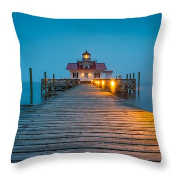 Outer Banks Manteo Nc Roanoke Marshes Lighthouse Obx North Carolina Throw Pillow