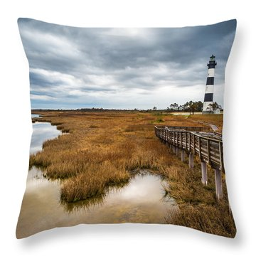 Outer Banks North Carolina Bodie Island Lighthouse Landscape Nc Throw Pillow