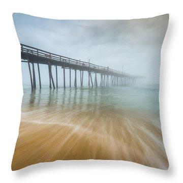 Outer Banks North Carolina Nags Head Obx Nc Beach Pier Seascape Throw Pillow