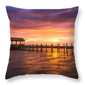 Outer Banks North Carolina Nags Head Sunset Nc Scenic Landscape Throw Pillow