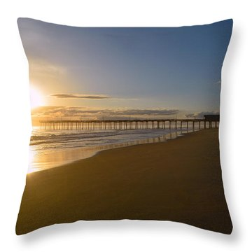 Throw Pillow featuring the photograph Outer Banks Pier Sunrise by Barbara Ann Bell