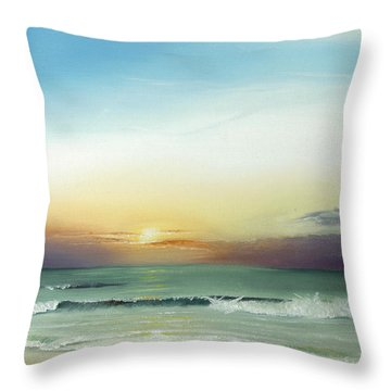 Throw Pillow featuring the painting East Coast Sunrise by Albert Puskaric