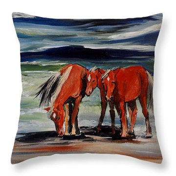 Outer Banks Wild Horses Throw Pillow