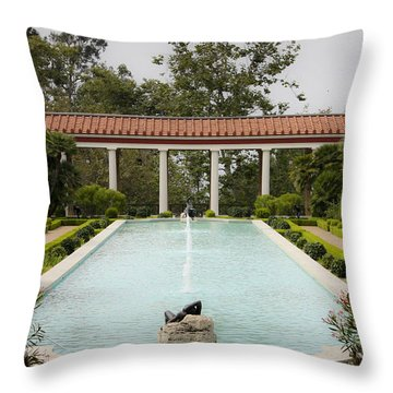 Outer Peristyle Pool And Fountain Getty Villa Throw Pillow