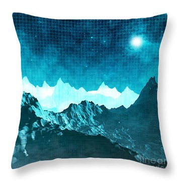 Throw Pillow featuring the digital art Outer Space Mountains by Phil Perkins