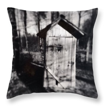 Outhouse Black And White Wetplate Throw Pillow