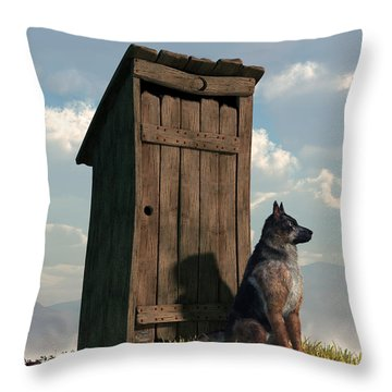 Outhouse Guardian - German Shepherd Version Throw Pillow
