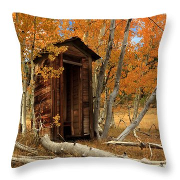 Outhouse In The Aspens Throw Pillow