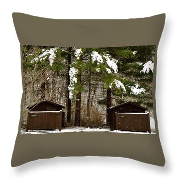 Outhouses In The Cold Throw Pillow