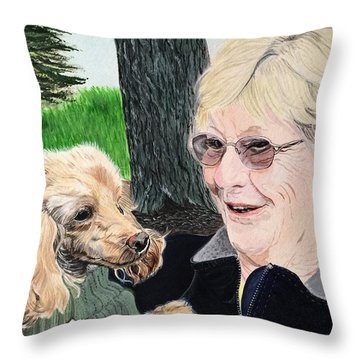 Outing With Peaches Throw Pillow