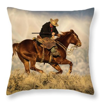 Outlaw Kelly Western Art By Kaylyn Franks Throw Pillow