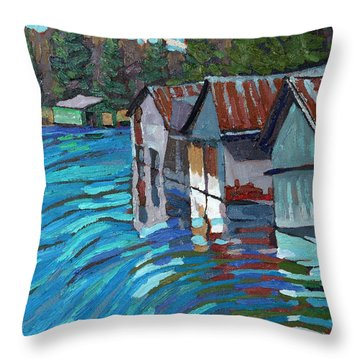 Outlet Row Of Boat Houses Throw Pillow