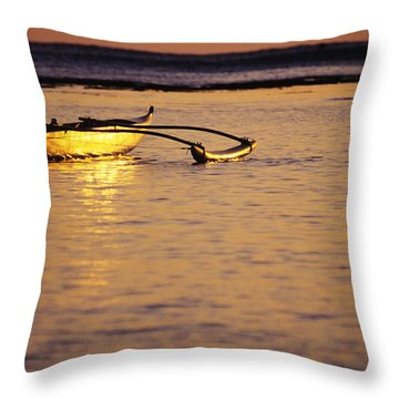 Outrigger And Sunset Throw Pillow by Joss - Printscapes