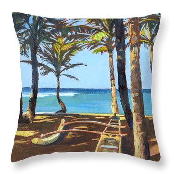 Outrigger Canoe At Mama's Fish House Throw Pillow