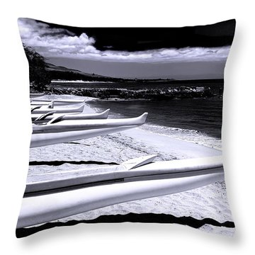Outrigger Ocean Canoes Throw Pillow