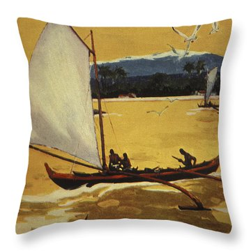 Outrigger Off Shore Throw Pillow by Hawaiian Legacy Archive - Printscapes