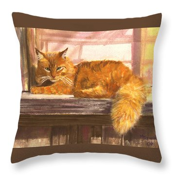 Outside Orange Tabby Throw Pillow by Mary Jo Zorad