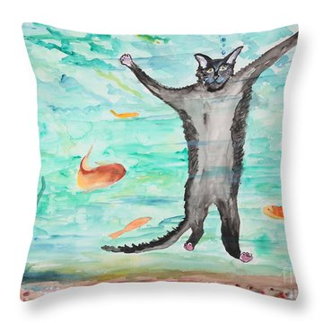 Outside The Fish Tank Throw Pillow