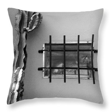 Outsiders - Cactus By The Window Throw Pillow by Ben and Raisa Gertsberg