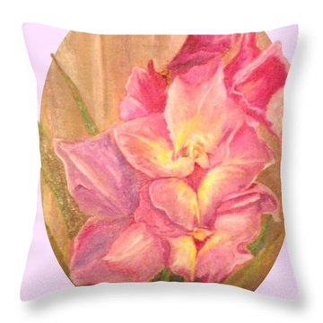 Oval Gladiolas               11x14 Throw Pillow by Sherril Porter