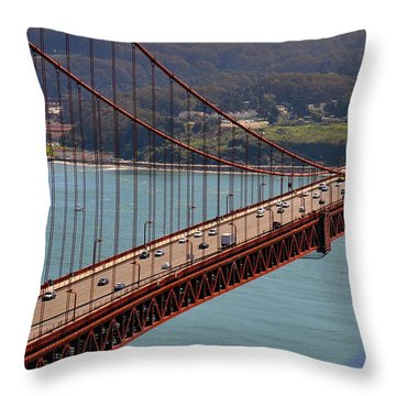 Over Golden Gate Throw Pillow by Gina Savage