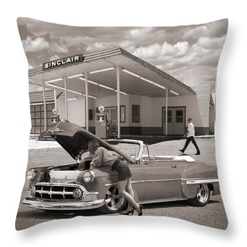 Over Heating At The Sinclair Station Sepia Throw Pillow