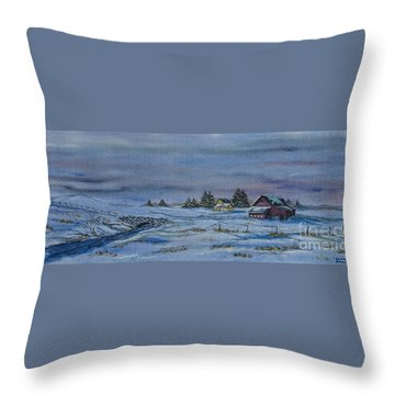 Over The Bridge And Through The Snow Throw Pillow by Charlotte Blanchard