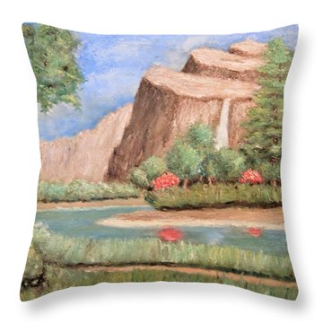 Over The Cliff Throw Pillow