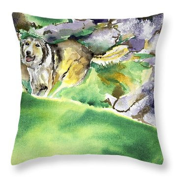 Over The Hill With Shep Throw Pillow