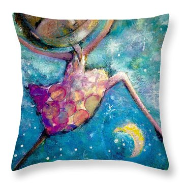 Over The Moon Throw Pillow by Eleatta Diver