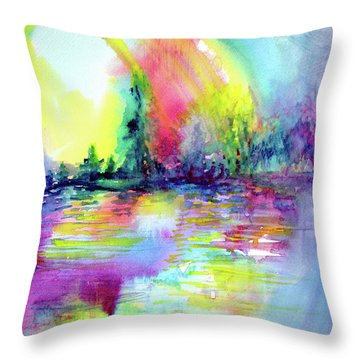 Over The Rainbow Throw Pillow by Allison Ashton