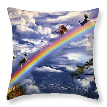 Over The Rainbow Bridge Throw Pillow