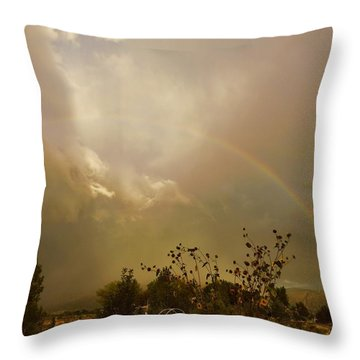 Over The Rainbow Garden Throw Pillow by Deborah Moen