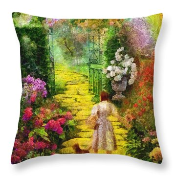 Over The Rainbow Throw Pillow by Mo T
