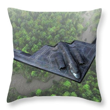 Over The River And Through The Woods In A Stealth Bomber Throw Pillow