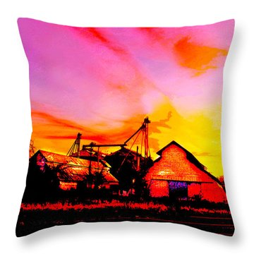 Over The Tracks --somewhere In Texas Throw Pillow