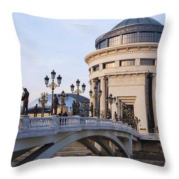 Over The Vardar River Throw Pillow by Rae Tucker