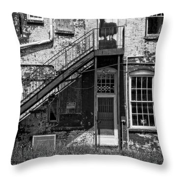 Throw Pillow featuring the photograph Over Under The Stairs - Bw by Christopher Holmes